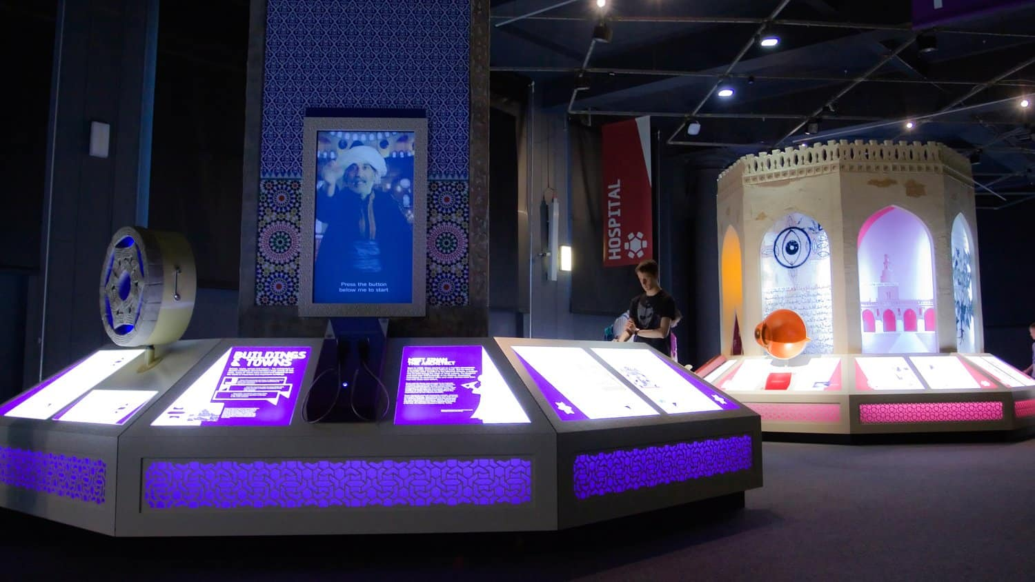 Audio and Visual Interactives at 1001 Inventions Exhibit using Bespoke Handheld Audio Handsets