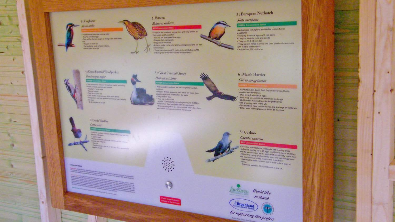 AudioSign Touch Panel at Fairhaven Gardens in Bird Hide