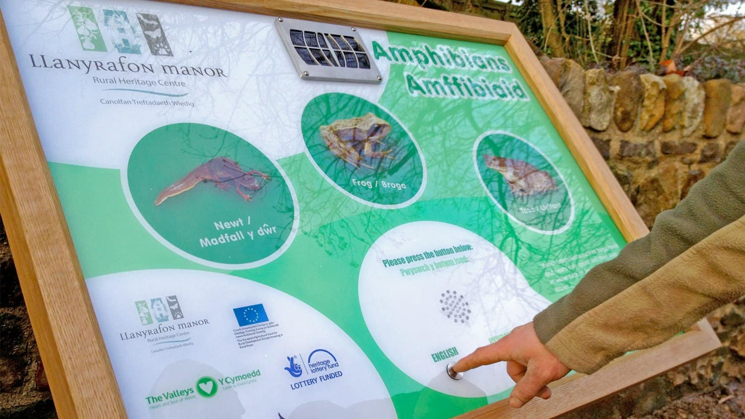 Amphibians Audio Sign Touch at Llanyrafon manor