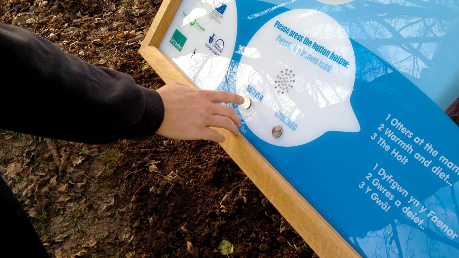 Otters AudioSign Touch Outdoor Sign at Llanyrafon Manor