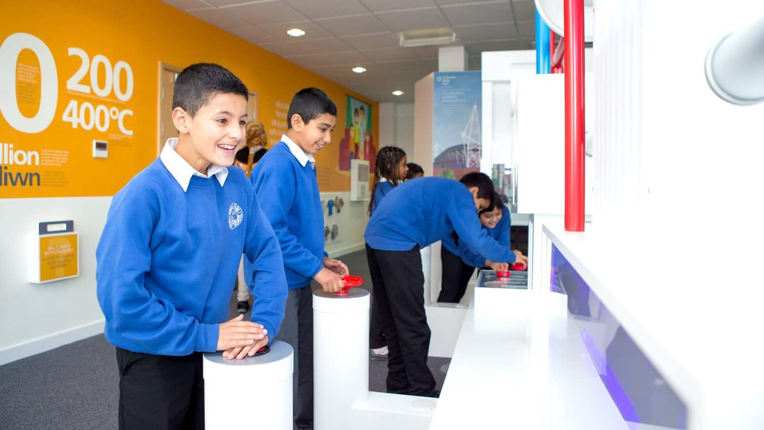 School children using Viridor Visitor Centre Energy Recovery Interactive by blackbox-av