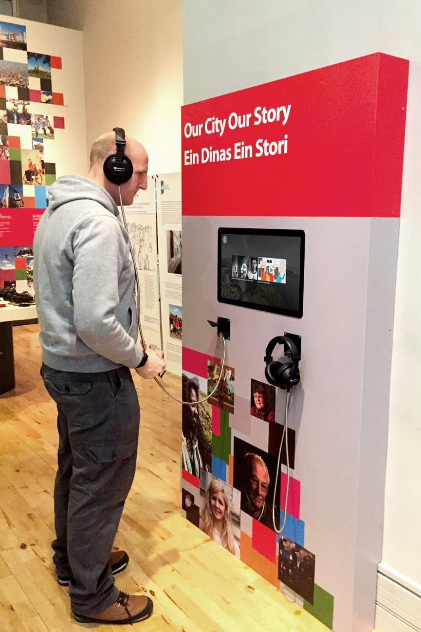 Cardiff Story Museum MKII Armour Cable Headphones in use