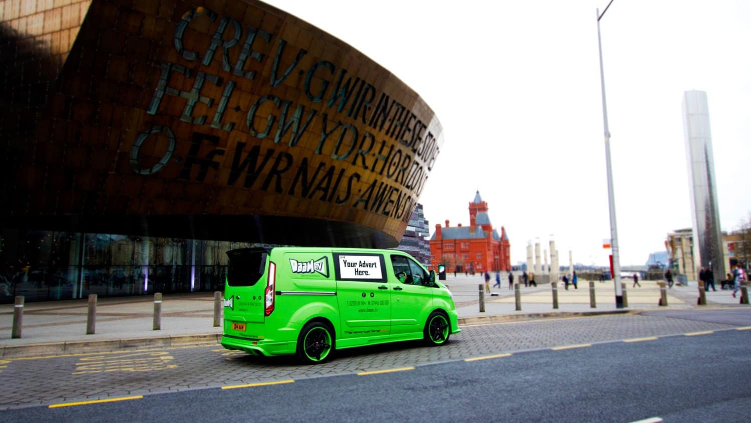 Daam TV Mobile Advertising Van Outside Wales Millenium Centre in Cardiff Bay