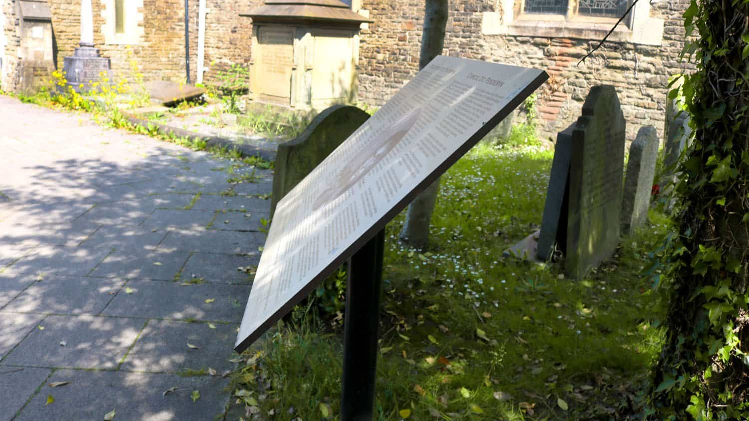 St Mary's Signage of Dic Penderyn at the side