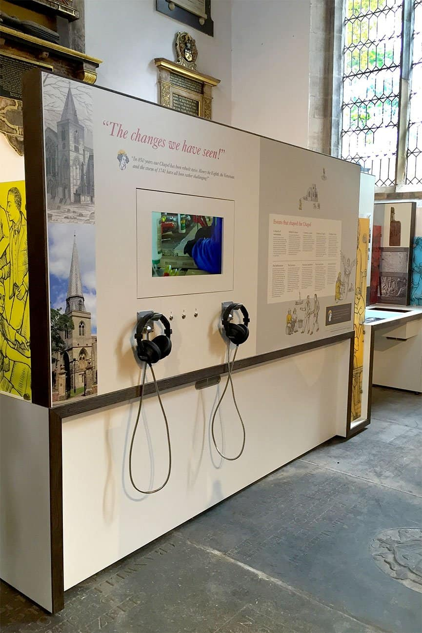 22 Inch Open Frame Video Screen and headphones at St Nicholas' Chapel