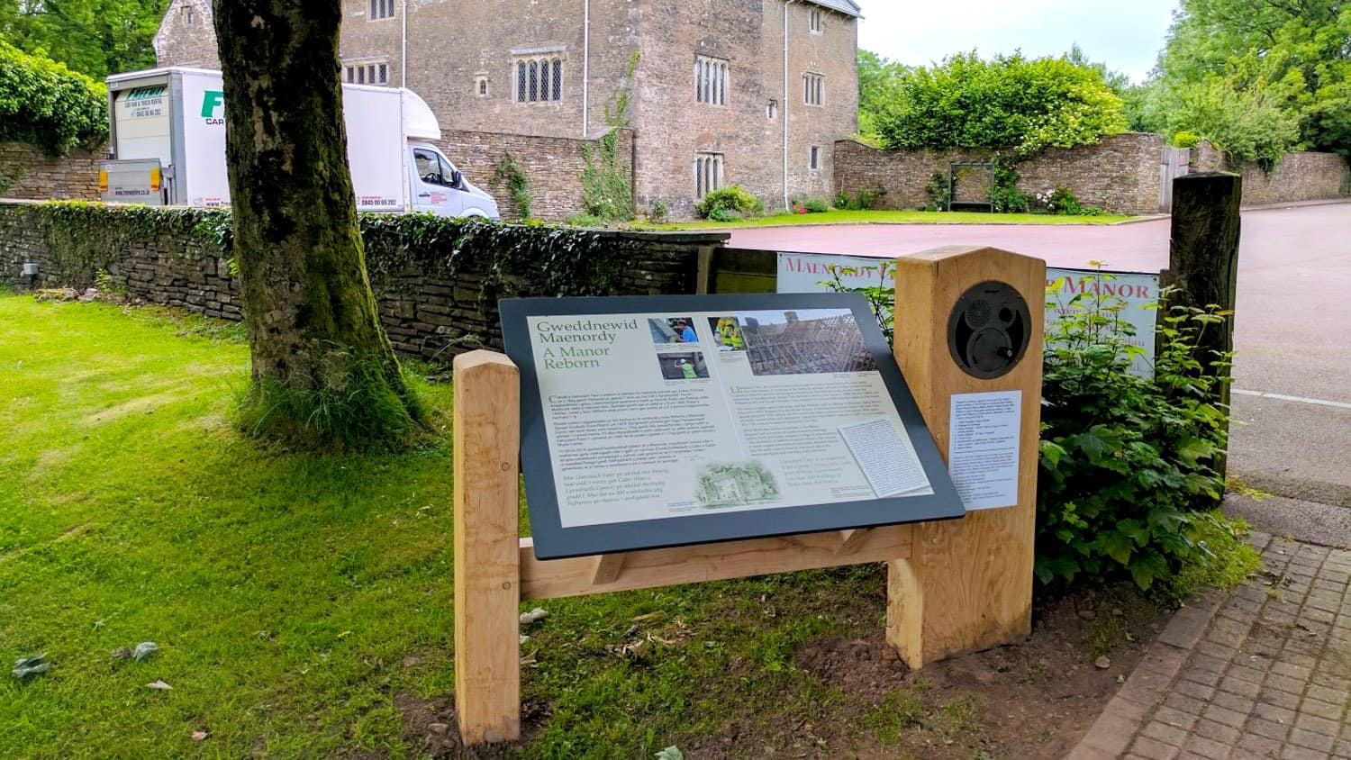 Oversized UTR Panel installed into outdoor signage at Llancaiach fawr manor in Nelson, Caerphilly