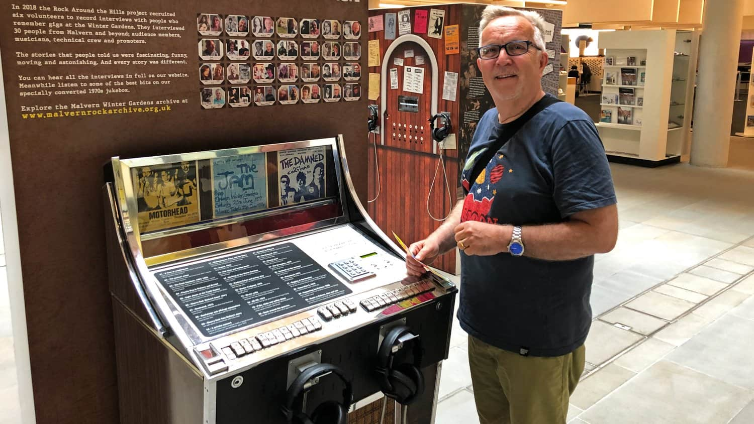 Visitor interacting with the 1970's Jukebox