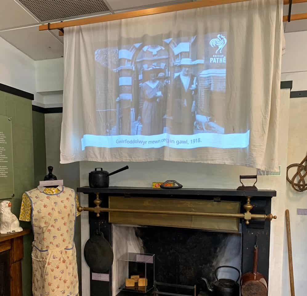 PIR activated content displayed on a projector at Rhondda Heritage Park